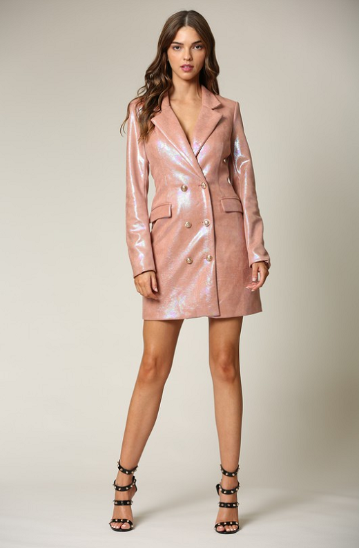 Dusty Rose Faux Leather Oil Spill Iridescent Blazer Dress 4