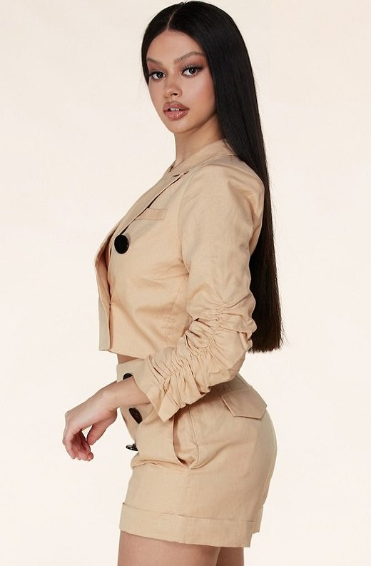 Taupe Scrunched Long Sleeve Blazer Shorts Set 2