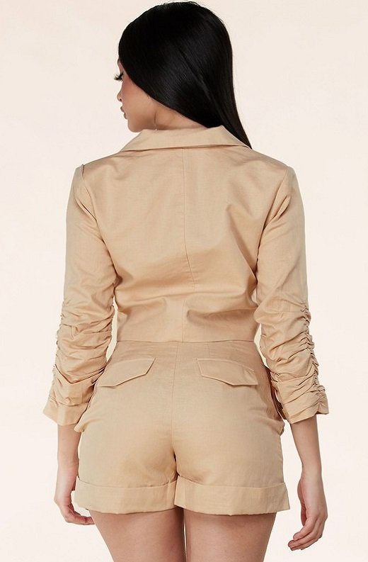Taupe Scrunched Long Sleeve Blazer Shorts Set 3