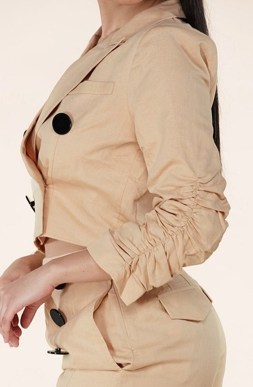 Taupe Scrunched Long Sleeve Blazer Shorts Set 4