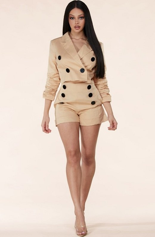 Taupe Scrunched Long Sleeve Blazer Shorts Set 5