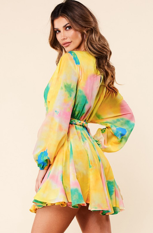 Yellow Tie Print Godet Wrap Tie Waist Dress 3