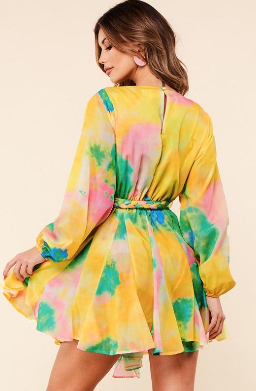 Yellow Tie Print Godet Wrap Tie Waist Dress 4
