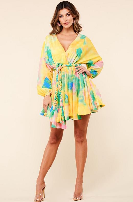 Yellow Tie Print Godet Wrap Tie Waist Dress 6