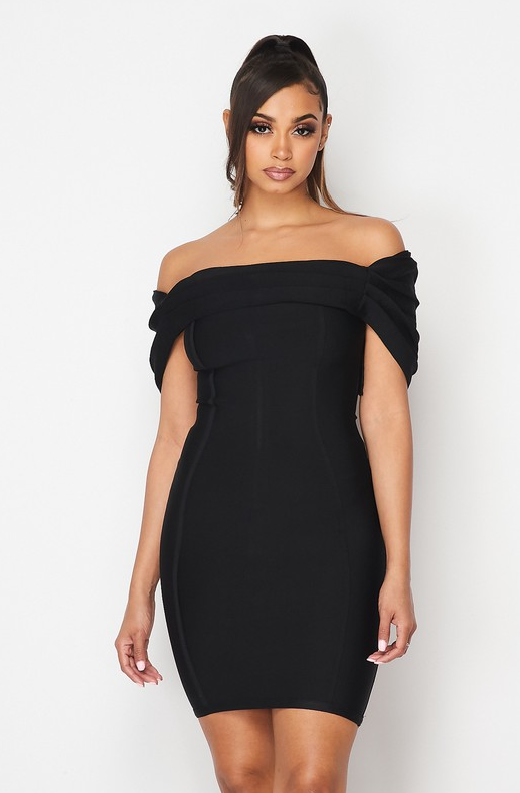 Black Ribbed Bodycon Off Shoulder Hourglass Dress 1