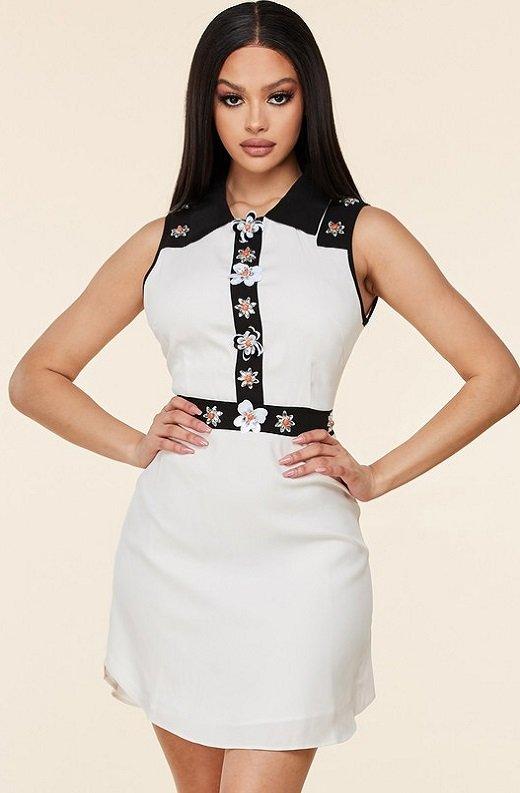 Black White Floral Lace Mini Dress 1