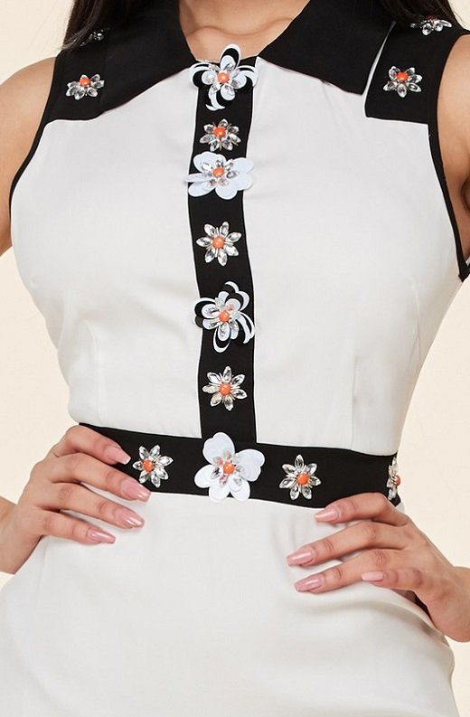 Black White Floral Lace Mini Dress 2
