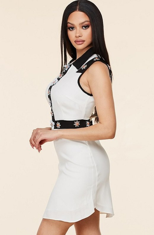 Black White Floral Lace Mini Dress 3