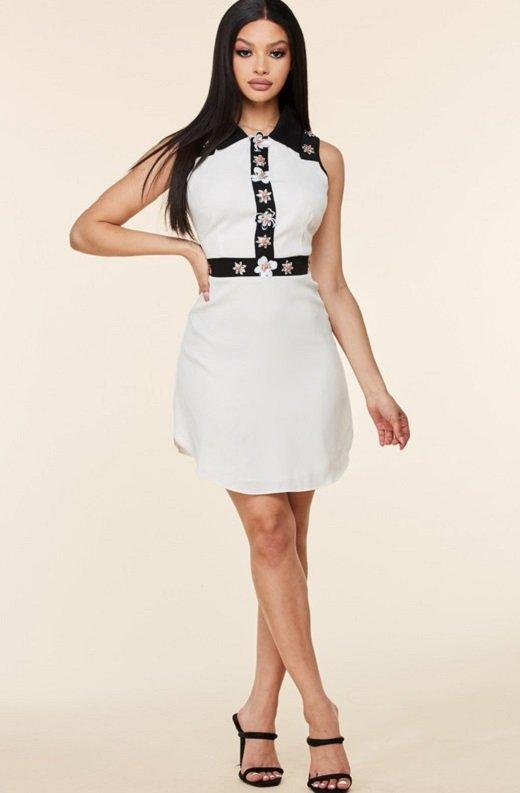 Black White Floral Lace Mini Dress 5