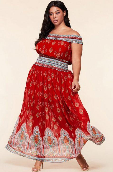 Hot Off Shoulder Maxi Dress