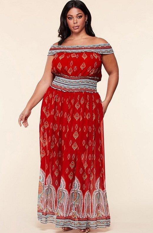 Bordeaux Aztec Print Off Shoulder Maxi Dress 2