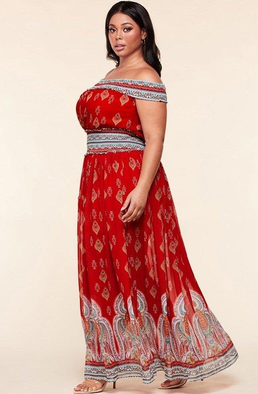 Bordeaux Aztec Print Off Shoulder Maxi Dress 3