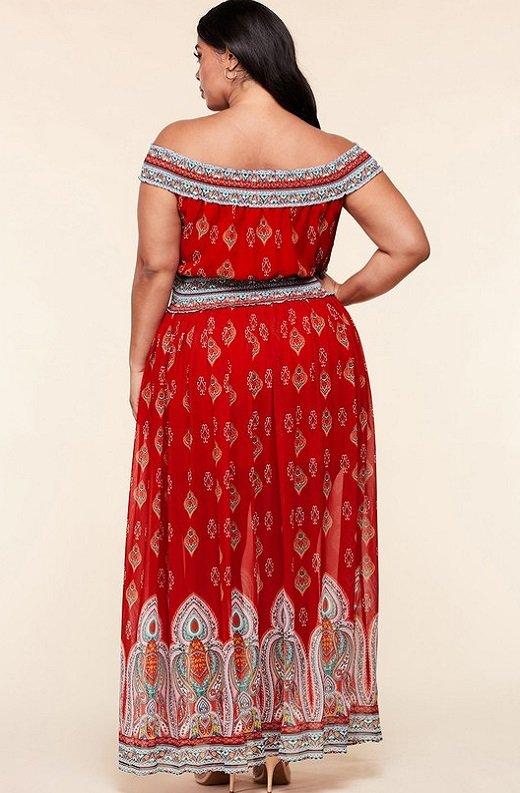 Bordeaux Aztec Print Off Shoulder Maxi Dress 4