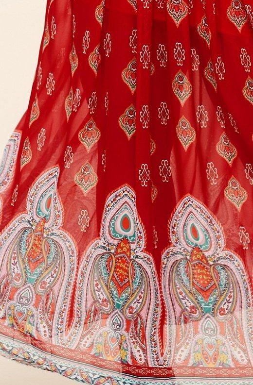 Bordeaux Aztec Print Off Shoulder Maxi Dress 6