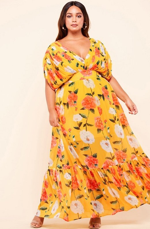 Coral Golden Daisies Off Ruched Shoulder Maxi Dress Dress 2