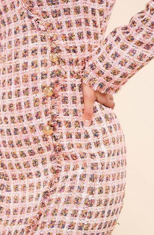 Dusty Tweed Gold Button V Neck Blazer Silhouette Dress 4