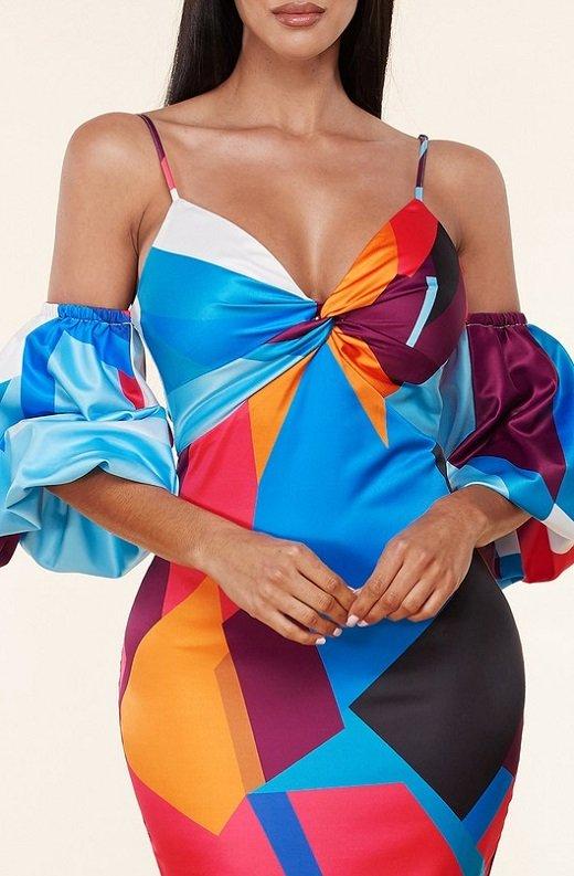 Mermaid Coral Geometric Off Shoulder Balloon Sleeves Dress 2
