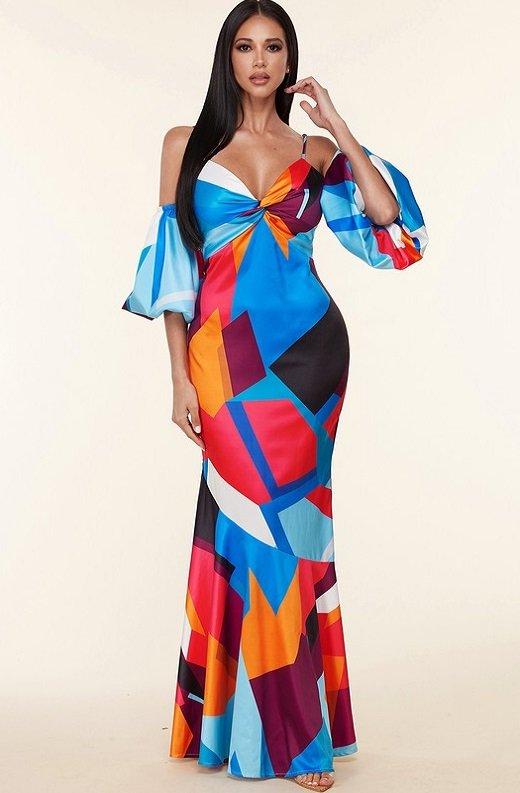 Mermaid Coral Geometric Off Shoulder Balloon Sleeves Dress 4