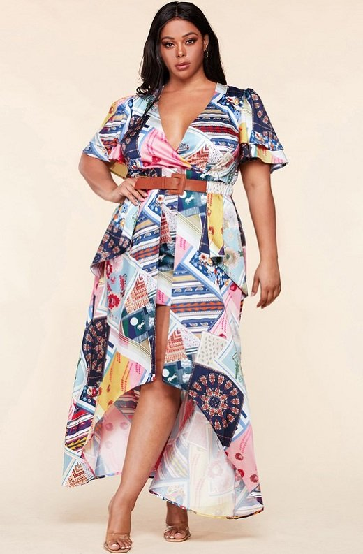 Multi Color Print Ruffle Wrap Belted Maxi Dress Plus Size 1