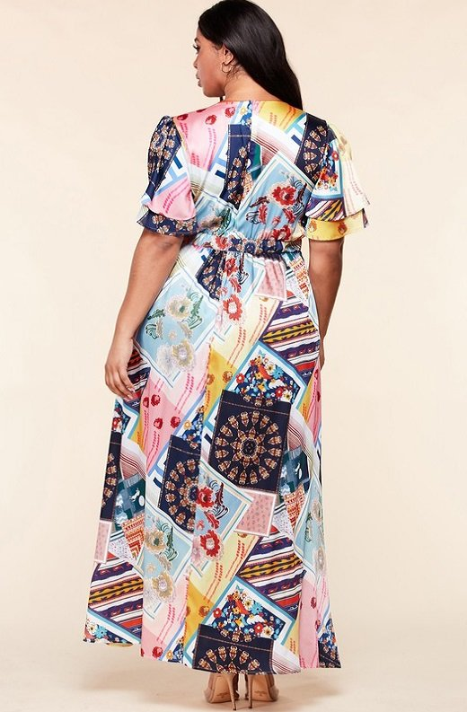 Multi Color Print Ruffle Wrap Belted Maxi Dress Plus Size 3
