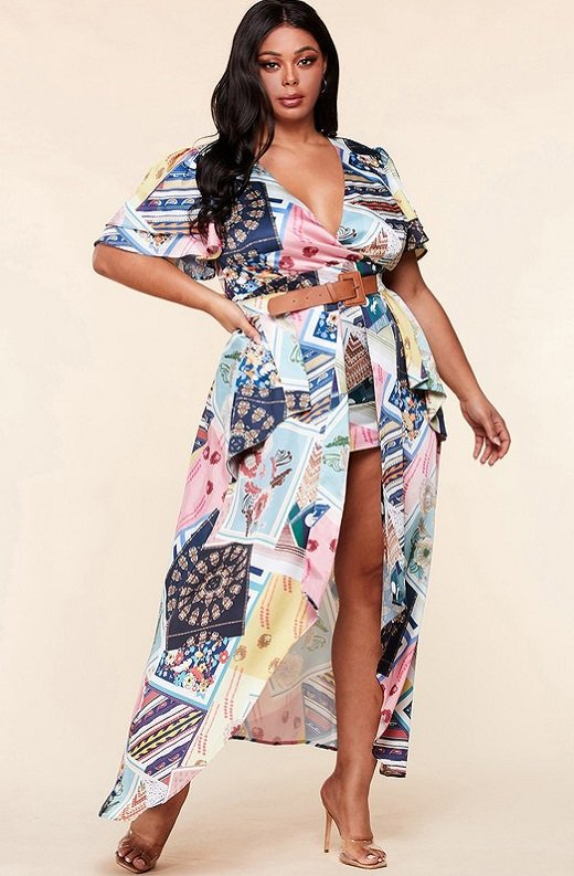 Multi Color Print Ruffle Wrap Belted Maxi Dress Plus Size 6