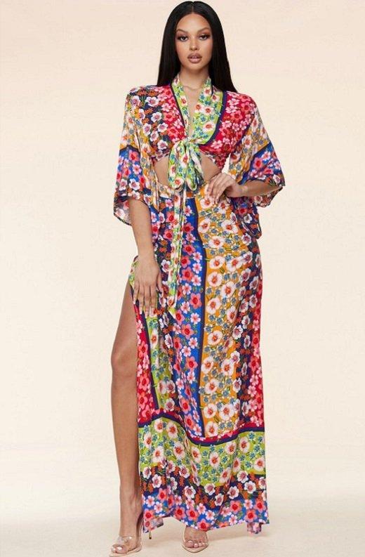 Multi Floral Kimono Two Piece Set 1