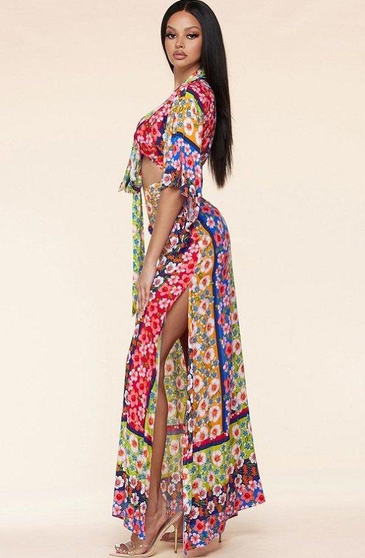 Multi Floral Kimono Two Piece Set 3