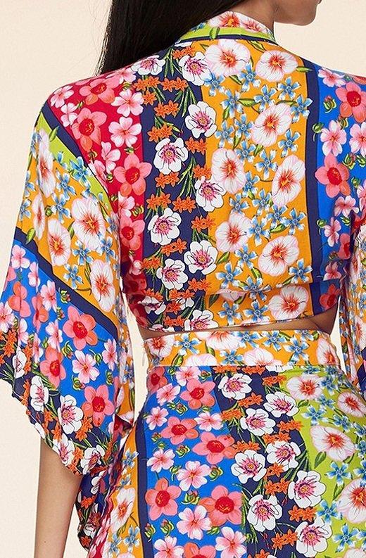 Multi Floral Kimono Two Piece Set 6