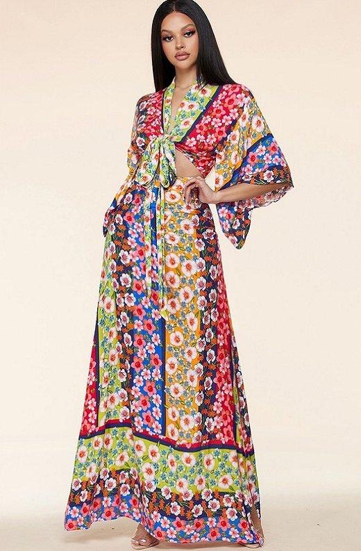 Multi Floral Kimono Two Piece Set 7