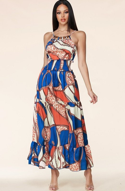 Navy Bead Cut Out Ruched Waist Snatched Maxi Dress 1