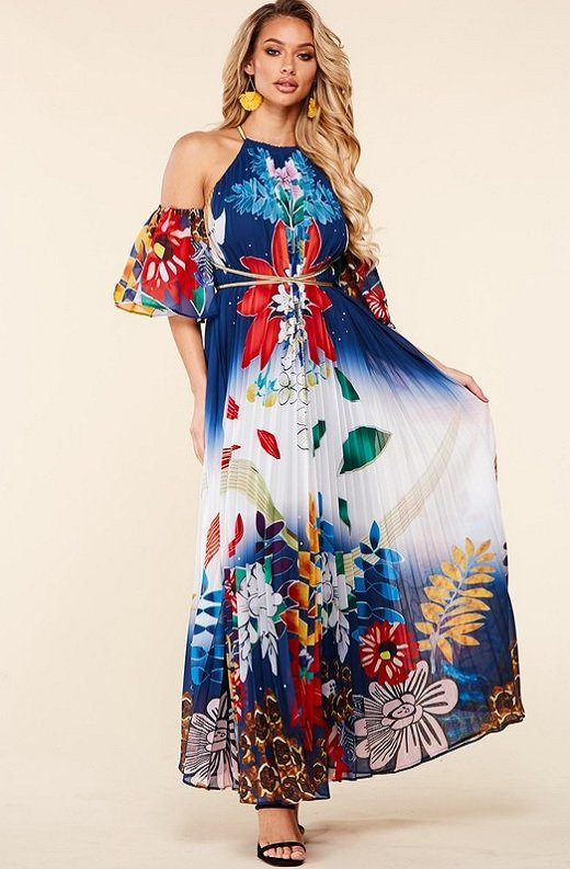 Navy Multi Floral Pleated Open Shoulder Maxi Dress 1