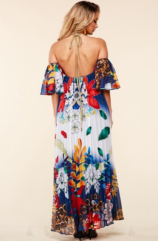 Navy Multi Floral Pleated Open Shoulder Maxi Dress 3