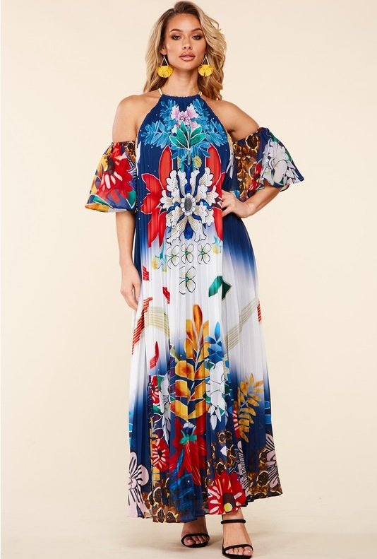 Navy Multi Floral Pleated Open Shoulder Maxi Dress 7
