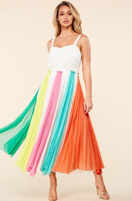 Off White Pastel Pleated Chiffon Flowy Skirt Dress 1