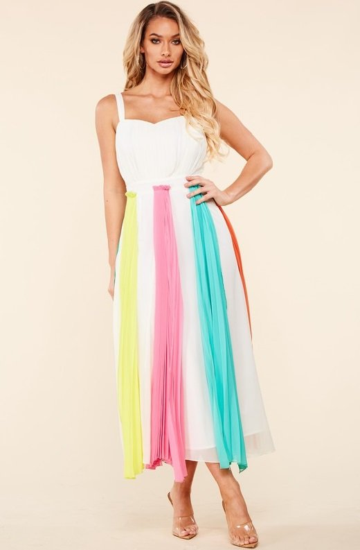 Off White Pastel Pleated Chiffon Flowy Skirt Dress 4