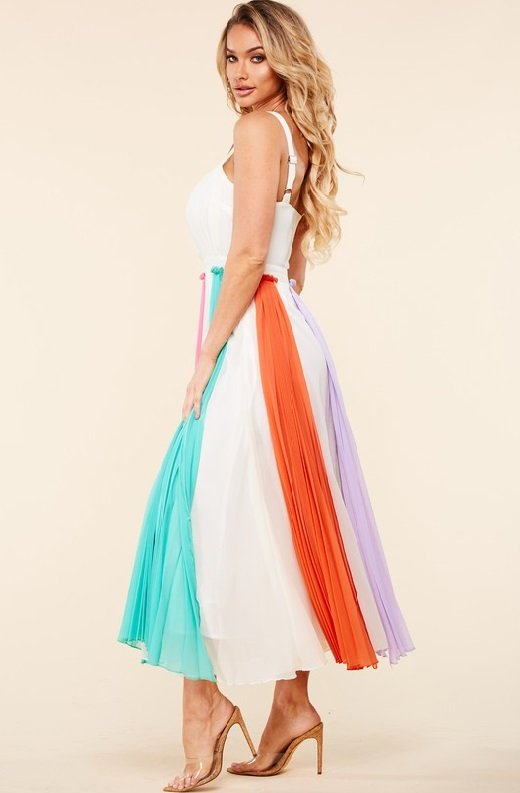 Off White Pastel Pleated Chiffon Flowy Skirt Dress 5