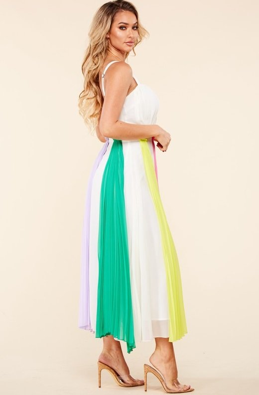 Off White Pastel Pleated Chiffon Flowy Skirt Dress 6