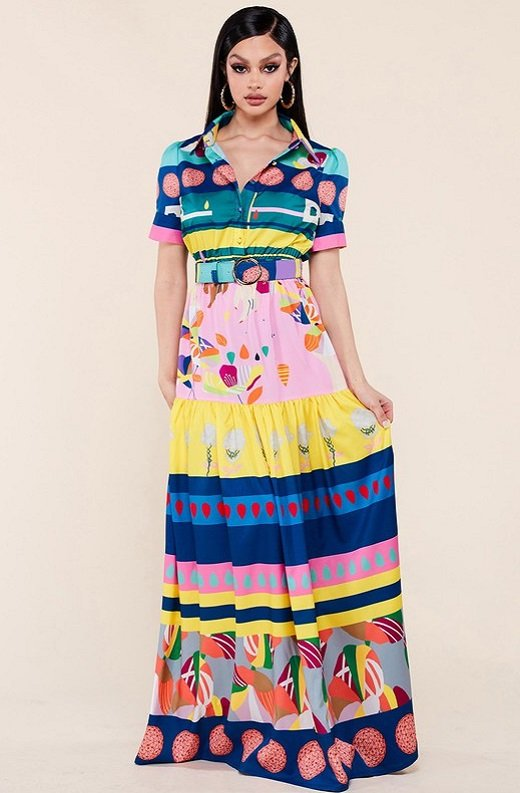 Pink Abstract Print Button Down Maxi Dress 1