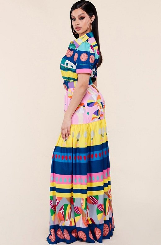 Pink Abstract Print Button Down Maxi Dress 2