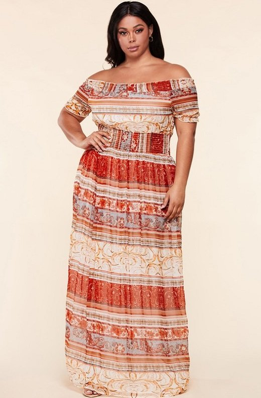Wine Bohamian Gold Stripes Off Shoulder Maxi Dress 1