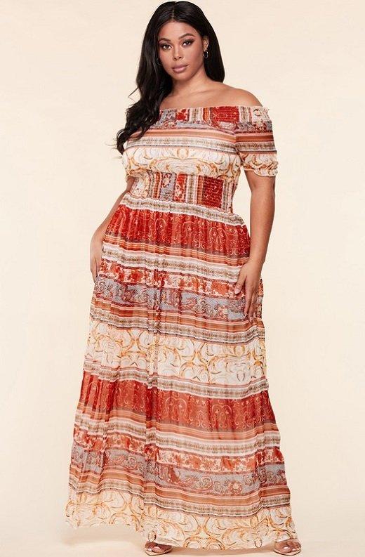 Wine Bohamian Gold Stripes Off Shoulder Maxi Dress 7