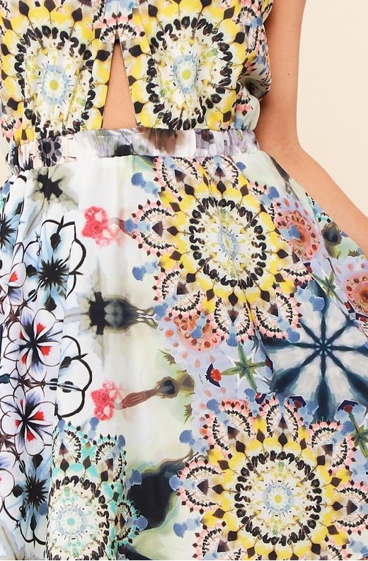 Yellow Abstract Cut Out Halter Flowy Skirt Dress 4