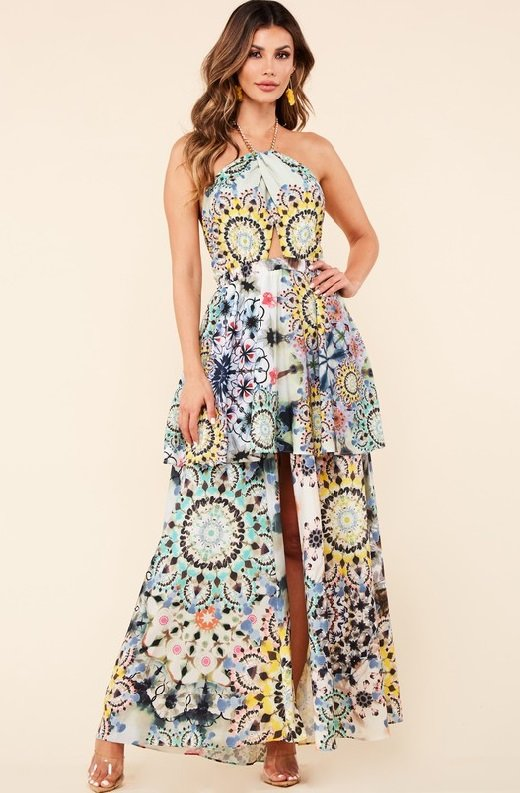 Yellow Abstract Cut Out Halter Flowy Skirt Dress 6