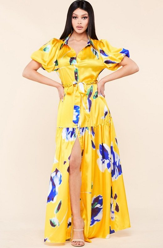 Yellow Floral Print Ruffle Wrap Belted Maxi Dress 1