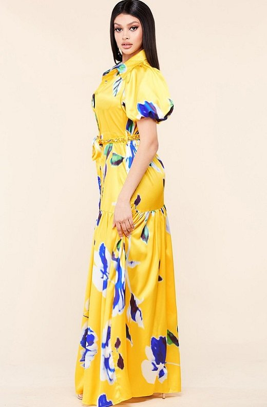 Yellow Floral Print Ruffle Wrap Belted Maxi Dress 2