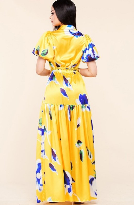 Yellow Floral Print Ruffle Wrap Belted Maxi Dress 3