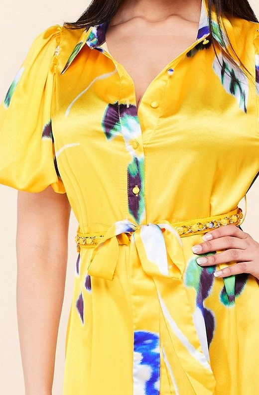 Yellow Floral Print Ruffle Wrap Belted Maxi Dress 4