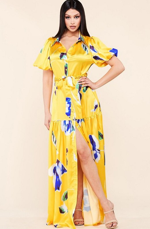 Yellow Floral Print Ruffle Wrap Belted Maxi Dress 6