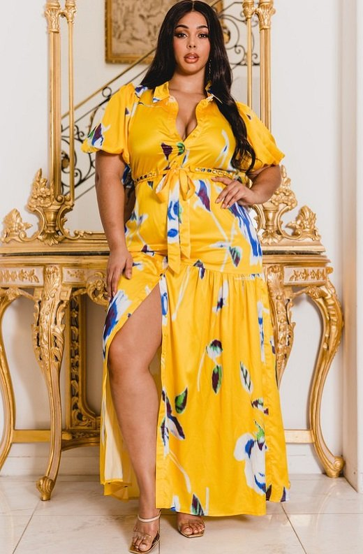 Yellow Floral Print Ruffle Wrap Belted Maxi Dress Plus Size 1