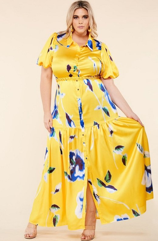Yellow Floral Print Ruffle Wrap Belted Maxi Dress Plus Size 2
